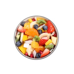 Delicious fresh fruit salad in bowl on white background, top view