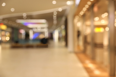 Blurred view of modern shopping mall interior. Bokeh effect