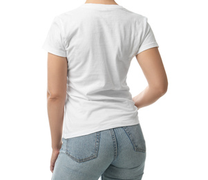Woman in t-shirt on white background, closeup. Space for design