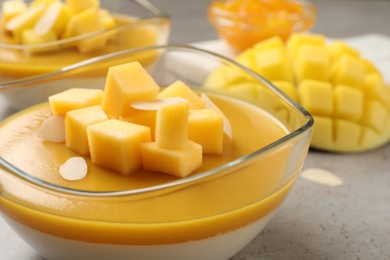 Delicious panna cotta with mango coulis and fresh fruit pieces on grey table, closeup