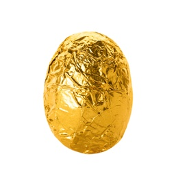 Chocolate egg wrapped in bright golden foil isolated on white