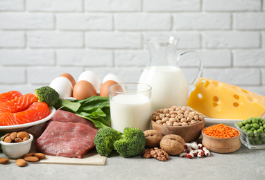 Different products rich in protein on light table