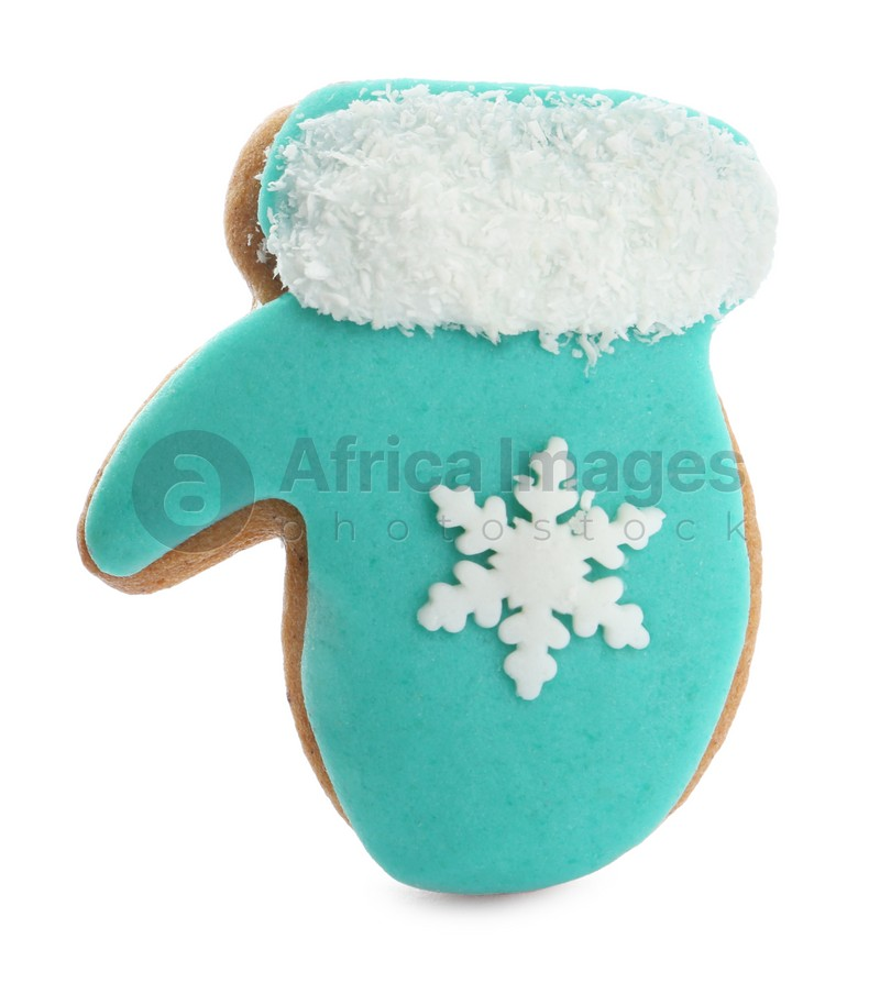 Tasty mitten shaped Christmas cookie isolated on white