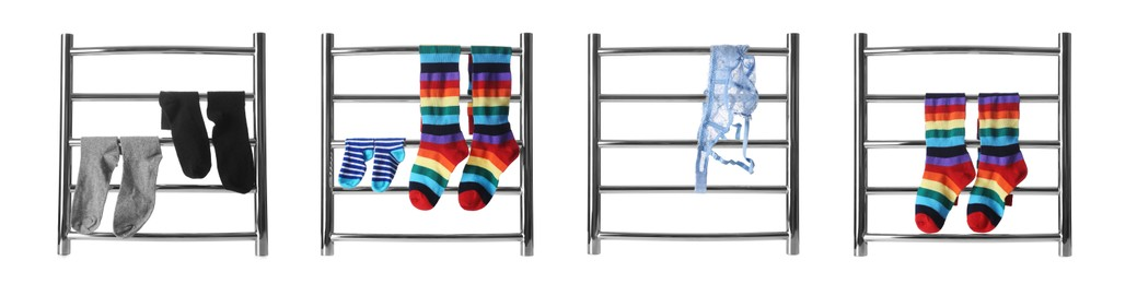 Set with modern heated towel rails with clothes on white background. Banner design