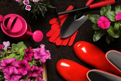 Flat lay composition with gardening equipment and flowers on soil