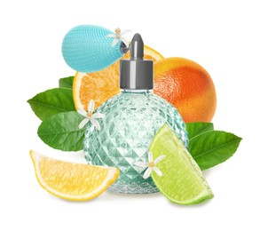 Bottle of perfume with citrus scent on white background