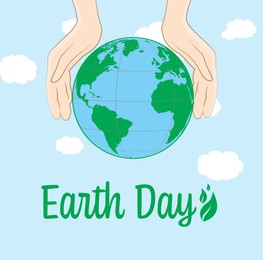 Happy Earth Day. Human holding hands near planet and sky with clouds on background, illustration