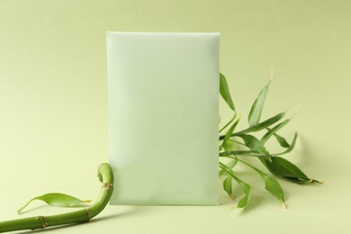 Scented sachet and bamboo branch on green background