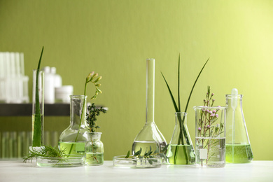 Ingredients for herbal cosmetic products in laboratory