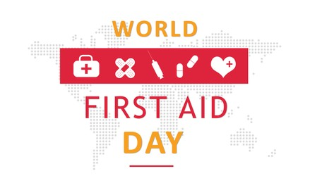 World First Aid Day. Different icons and map on white background, illustration
