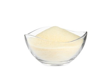 Gelatin powder in glass bowl isolated on white