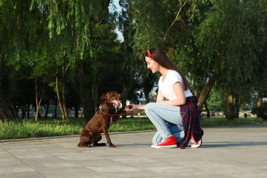 Young woman with her German Shorthaired Pointer dog in park