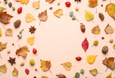 Flat lay composition with autumn leaves on light background, space for text