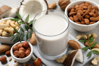 Vegan milk and different nuts on light table, closeup