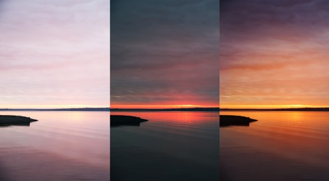 Photos before and after retouch, collage. Picturesque view of sunset at river