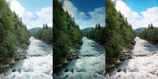 Photos before and after retouch, collage. Wild mountain river flowing along rocky banks in forest
