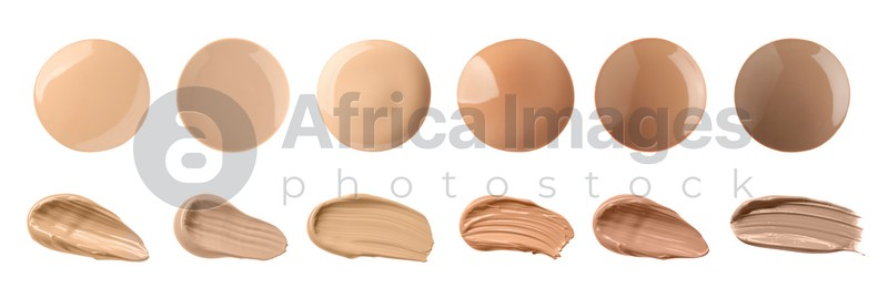 Set with different shades of liquid skin foundation on white background, top view. Banner design