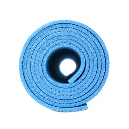 Rolled light blue camping mat isolated on white