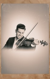 Old picture of handsome man playing violin. Portrait for family tree