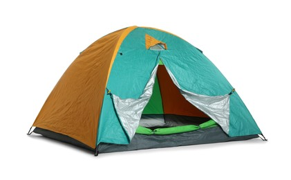 Bright colorful camping tent on white background