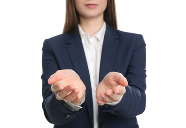 Young woman against white background, focus on hands