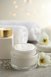 Spa composition with skin care products on light background