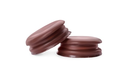 Delicious choco pies on white background. Classic snack cakes
