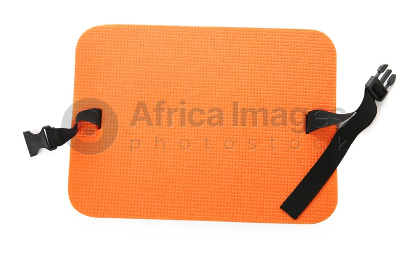 Orange foam seat mat for tourist isolated on white, top view