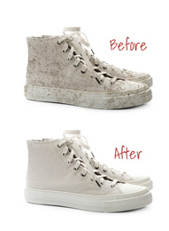 Pair of trendy shoes before and after cleaning on white background