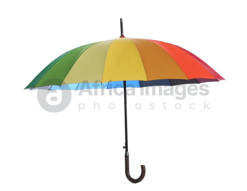 One open colorful umbrella isolated on white