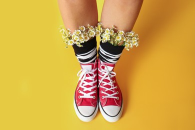 Above view of woman with beautiful tender chamomile flowers in socks on yellow background
