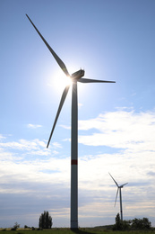 Beautiful view of landscape with wind turbines. Alternative energy source