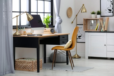 Modern home workplace with wooden crates. Eco style interior