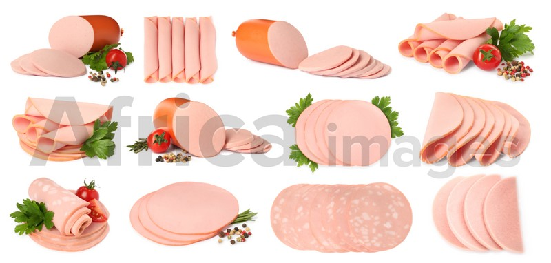 Set with tasty boiled sausages on white background. Banner design
